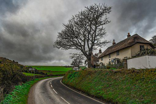 Landscape, Scenery, Road, House, Cottage, Rural