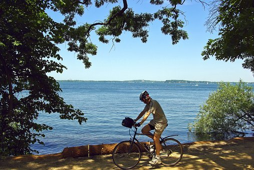 Cyclist On Lakeshore Path, Bicycle, Trail, Cycling