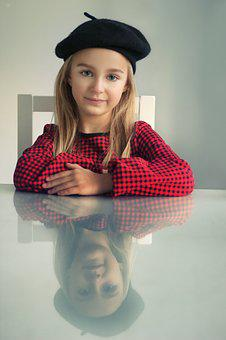 Beret, The Little Girl, A Person, Eyes, Portrait, Girl