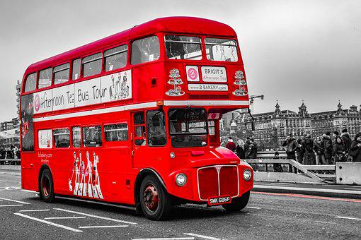 Bus, Red, London, Camper, Travel, England, Transport