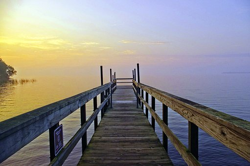 Mille Lacs Dock Morning, Dock, Lake, Scenery, Outdoor