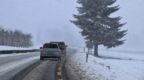 Snow, Travel, Roadway, Asphalt, Buried, Winter, Scenery