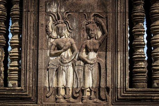 Cambodia, Ankgor Wat, Siem Reap, Engraving, Ruin