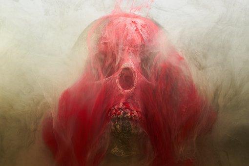 Red, Skull, Dry Head, Skeleton, Dead, Death, Bone, Dark