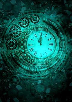 Steampunk, Clock, Gears, Background, Fantasy, Time