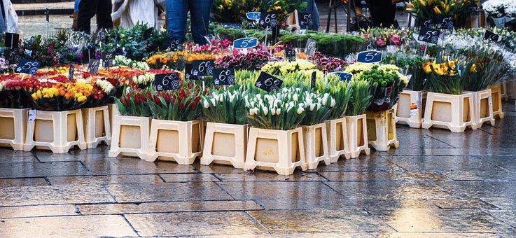 Street, Vendor, Market Day, Street Scene, Floral