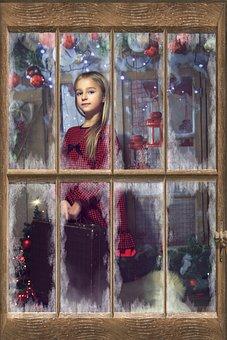 Frame, Window, Portrait, Pane, The Little Girl