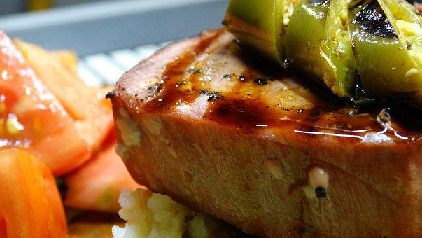 Tuna, Tomato, Seared Tuna, Green Chile, Mashed Potatoes