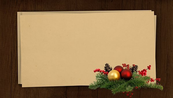 Winter, Christmas, Wish, Postcard, Wood, Needles