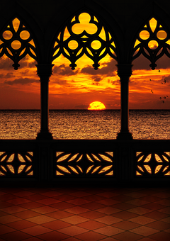 Balcony, Sunset, Sea, Clouds, Sunrise, Twilight