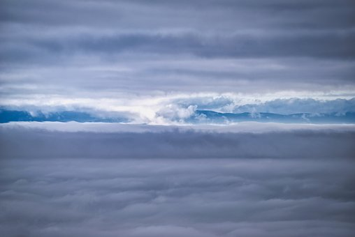 Landscape, Winter, Mountain, Cloud, Cloudy, Mist, Sky