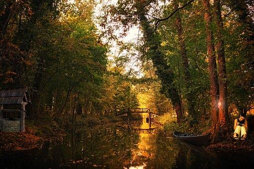 Spreewald, Water, Channel, Landscape, Depth, Trees