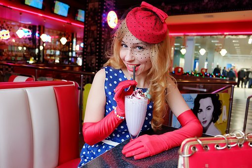 Pin-up Girl, Fortieth, 50s, American Cafe, Retro