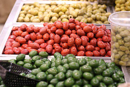 Food, Olives, Mediterranean, Healthy, Red, Green