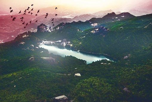 Mountain, Landscape, Lake, Nature, Village, Summit