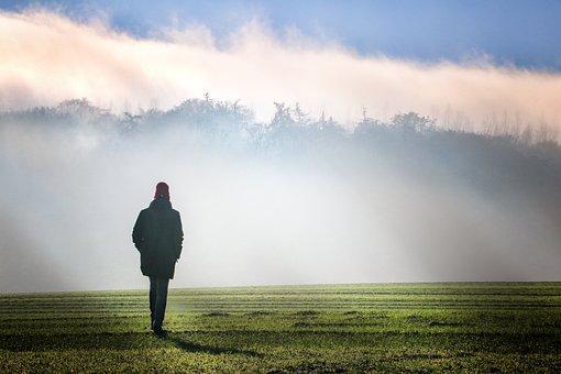 Fog, Dawn, Landscape, Sunrise, Nature, Blue, Green
