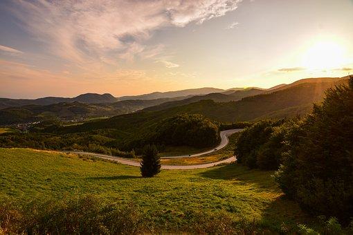 Sunset, Mountains, The Sky, Orange, Trees, Nature