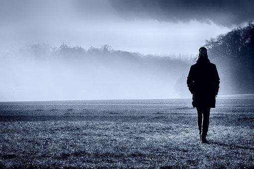 Fog, Dawn, Landscape, Sunrise, Nature, Trees, Person
