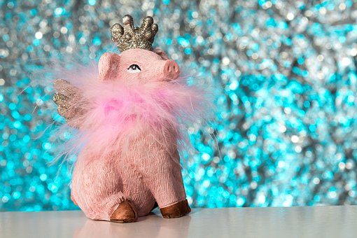 Pig, Wing, Crown, Flying, Animal, Funny, Pink, Luck