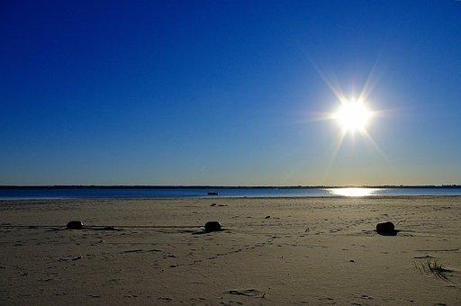 Sun Over Sandy Cove, Sun, Sky, Water, Landscape, Nature