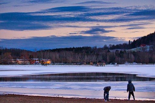 Lake, Children, Play, Snow, Frozen, Family, Leisure