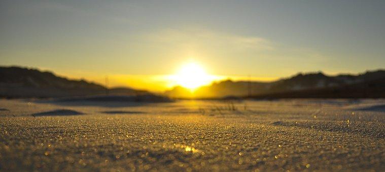 Sunset, Winter, Snow, Nature, Landscape, Sky, Evening