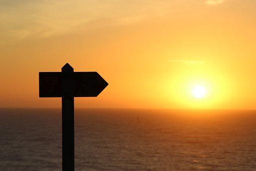 Sunset, Shield, Sun, Sea, Portugal, Note, Twilight