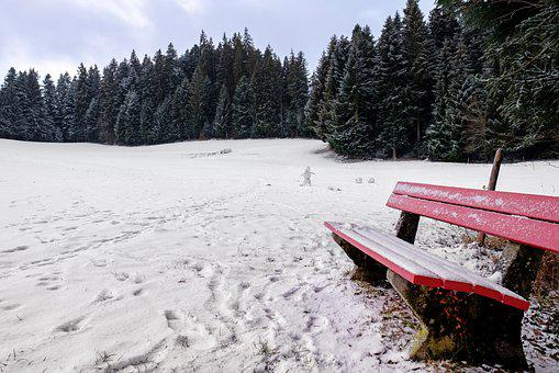 Winter, Snow, Bank, Bench, Seat, Rest, Away, Traces