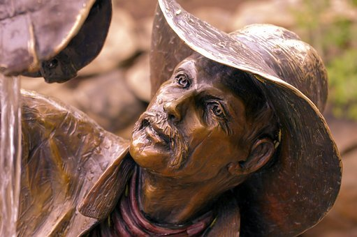Wishful Thinkin Cowboy, Sculpture, Bronze, Statue
