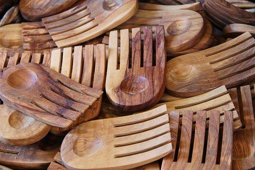 Forks, Olive Wood, Wooden Forks, Wooden Cutlery