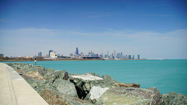 Chicago, Skyline, Architecture, Michigan Lake, Rock