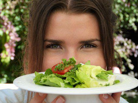 Salad, Plate, Girl, Young Woman, Eyes, Health, Beauty