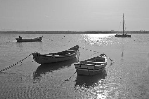 Boats, River, Black And White, Boat, Water, Ship