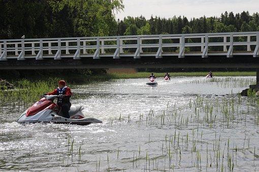 Water Scooter, Yamaha Jet Ski, Bridge, At Sea, Water