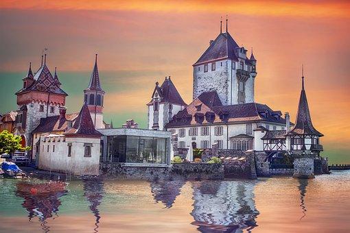 Castle, Lake, Sky, Reflection, Landscape, Clouds