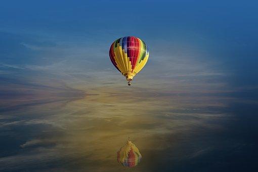 Fantasy, Hot Air Balloon, Reflection, Landscape