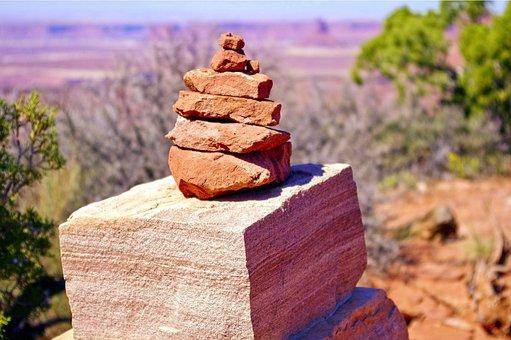 Grand View Cairn, Cairn, Rocks, Stones, Desert