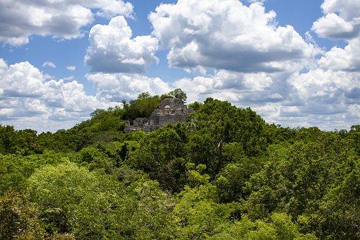 Ruins Of Calakmul, Pyramid, Mayan Ruins