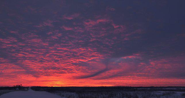 Winter Solstice, Winter, Snow, Sunset, Sunrise, Sky
