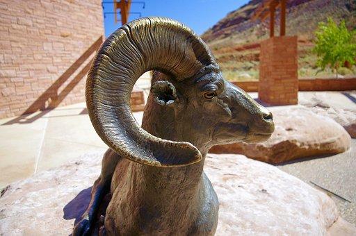 Bronze Ram Bighorn, Bronze, Statue, Desert, Bighorn