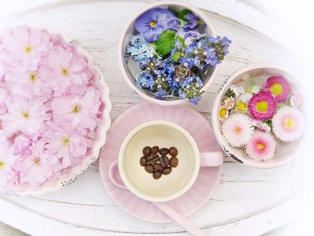 Tray, Flowers, Spring, Cup, Pink Heart, Coffee Beans