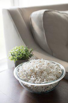 Popcorn, Couch, Side Table, Glass Bowl, Window
