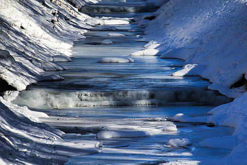 Winter, Wintry, Ice, Bach, Stream Bed, Cold, Icicle