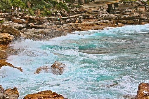 Australia, Sydney, Bondi, Panorama, Landscape, Bay, Sea