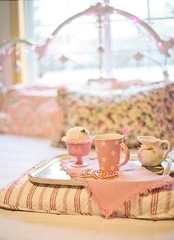 Tea, Bed, Breakfast, Valentine's Day, Pink, Romantic