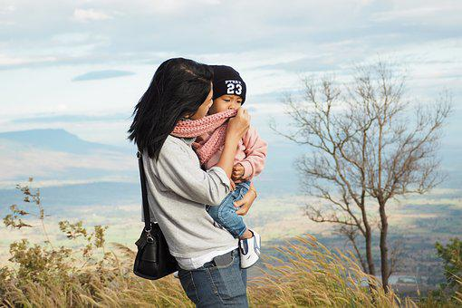 Mother, Boy, Son, Child, Mountains