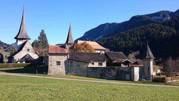 Rougemont, Church, Castle, Architecture, Building