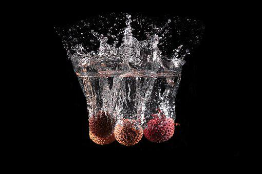 Lychee, Fruit, Water, Drip, Wet