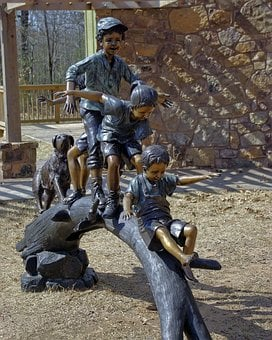 Kids Playing On Log, Sculpture, Art, Statue, Figure