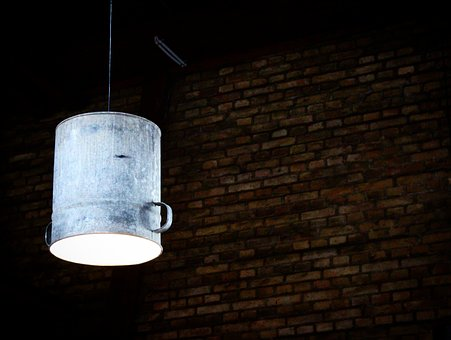 Lamp, Wall, Bricks, Light, Bucket, Client, Architecture